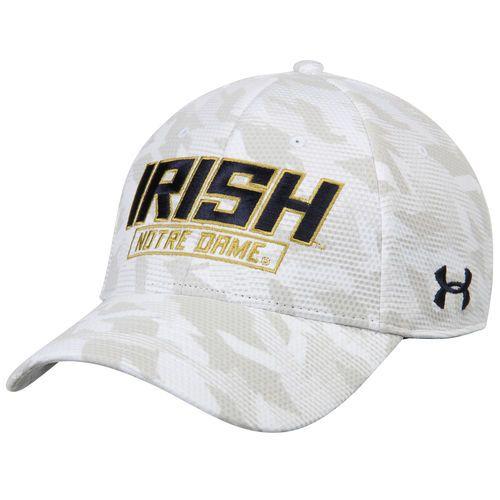 Men's Under Armour White Notre Dame Fighting Irish Camo Blitzing Razor Structured Flex Hat