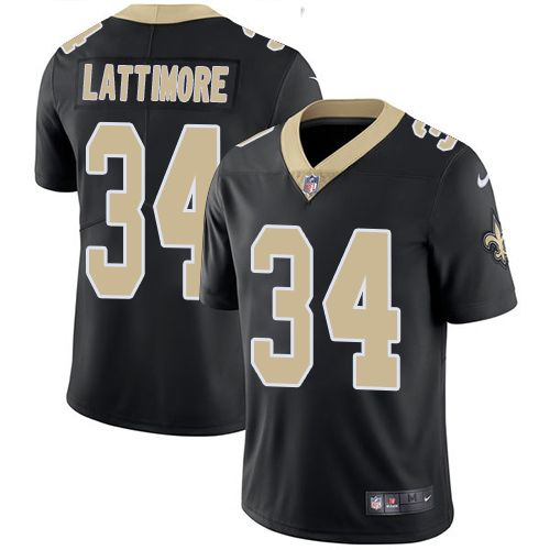 Youth Nike New Orleans Saints #34 Marshon Lattimore Limited Black Team Color NFL Jersey