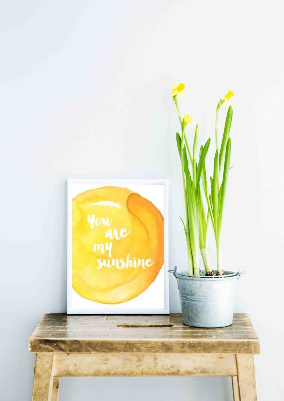 Contemporary Yellow Watercolour Poster You Are My by FrankieAndGus