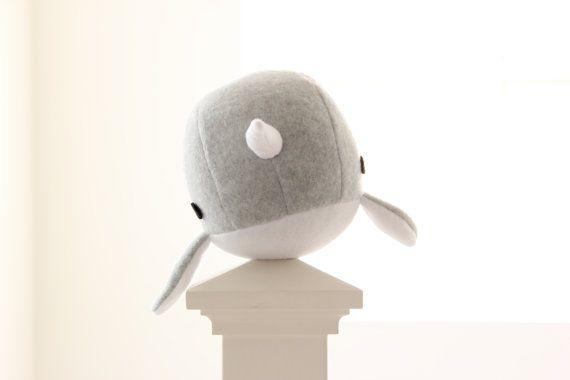 narwhal plush toy Rachel light grey soft fleece by RainingSugar, $23.00