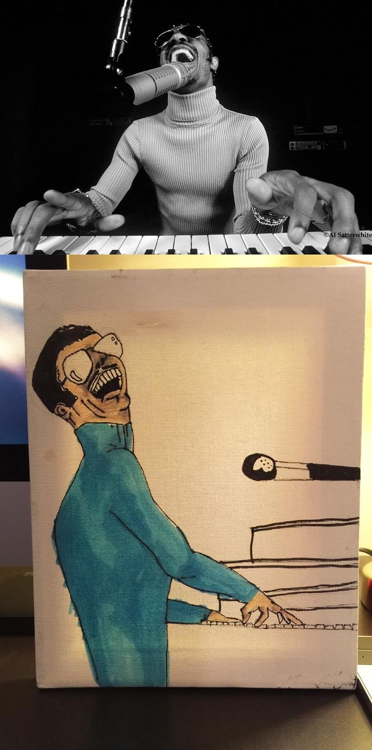 My sister legitimately tried to paint a picture of Stevie Wonder for my dad on his birthday