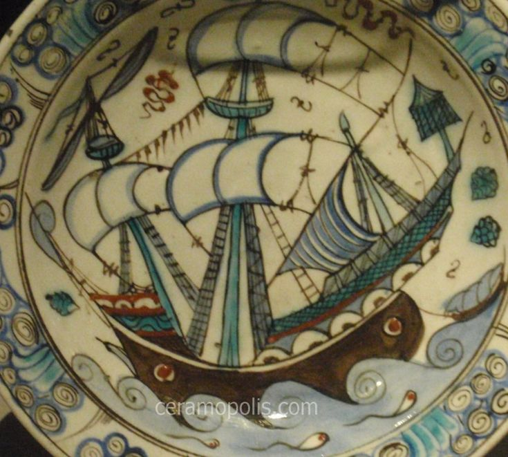 Iznik Plate – Motif Ship  Iznik 16th – V Museum UK