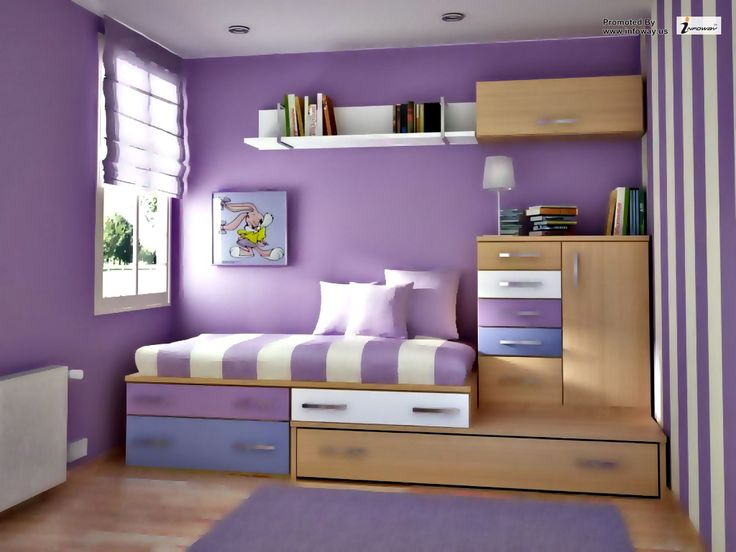 Uncategorized,Awesome Girl Room Decorating Ideas With Purple Wall Painting  And Cool Bed Frame Complete