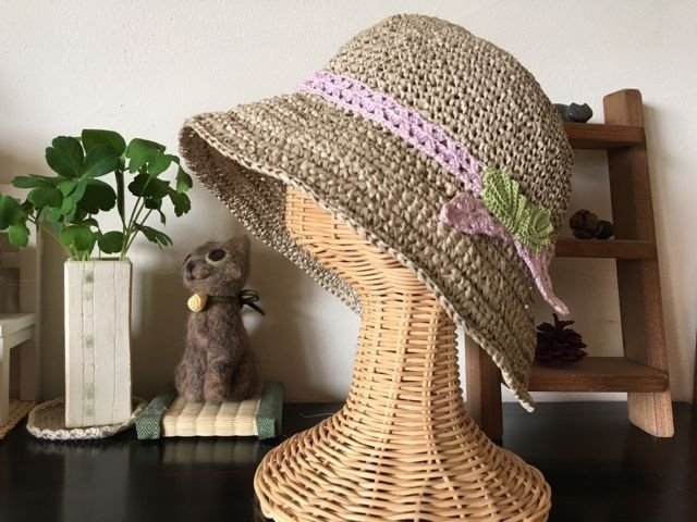 レース編みりぼんの和紙帽子【若草】