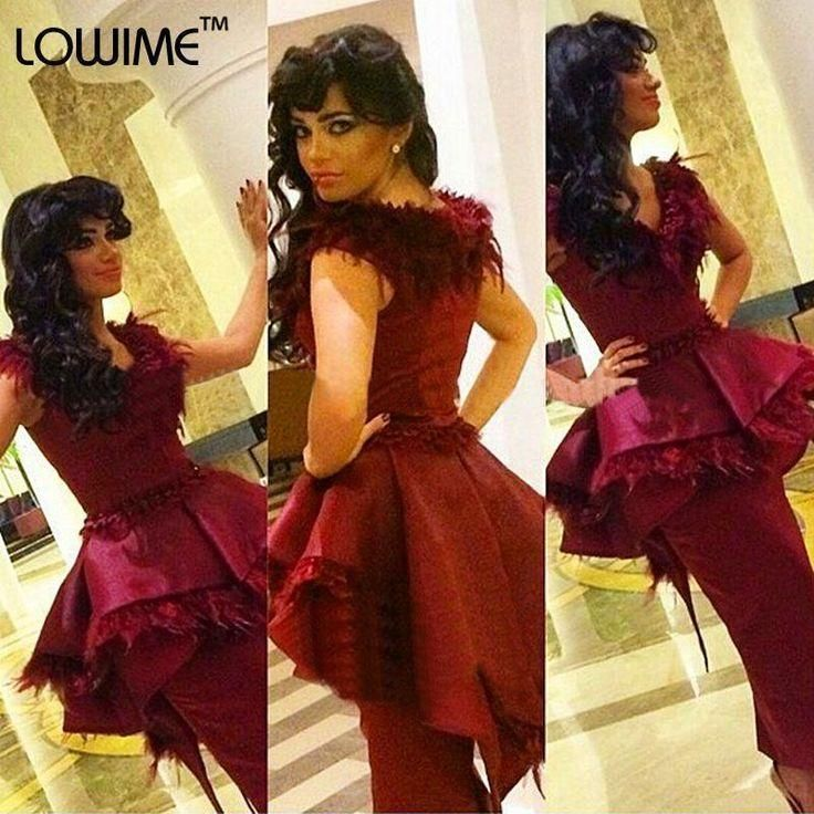 Party Dress For Women Fashion Burgundy Satin 2016 Cocktail Dress V Neck Ruffles Sheath Ankle Length Evening Occasion Party Gown With Feather Vestido De Noche Party Dresses For Ladies From Whiteone, $130.95| Dhgate.Com