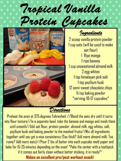 TROPICAL VANILLA PROTEIN CUPCAKES #Recipe #Health #fitness