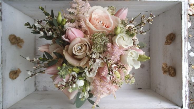 Posy Barn bouquet with Spring blossom and tulips