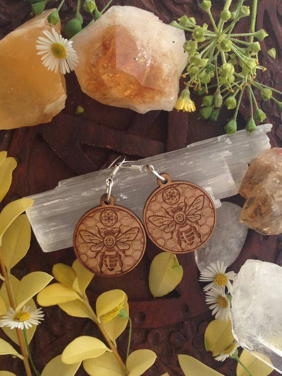 Round Wood Earrings with Bee Hive Pattern and by SpiralCutStudio