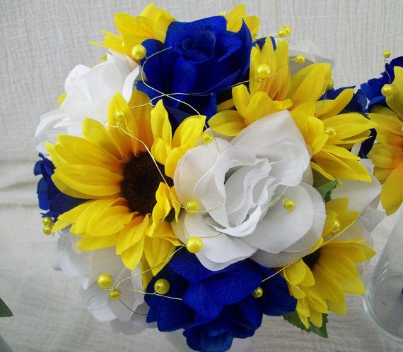 Royal Blue and Yellow Wedding Flowers Bridal Bouquet Wedding