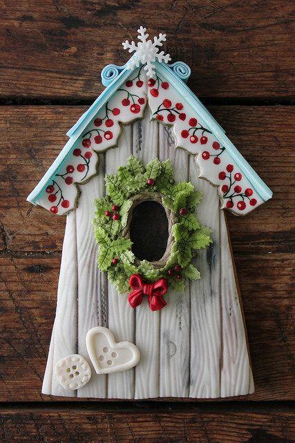Winter birdhouse cookie   Flickr - Photo Sharing!