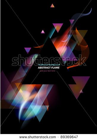 Stunning lights and flames mixed with triangle elements background