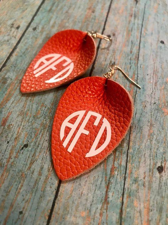 Monogrammed Genuine Leather Teardrop Pinched Earring With Wood Bead Cognac Brown Best Selling Gift Boho Earrings Leather Earring Round In 2020 Leather Earrings Etsy Jewelry Genuine Leather