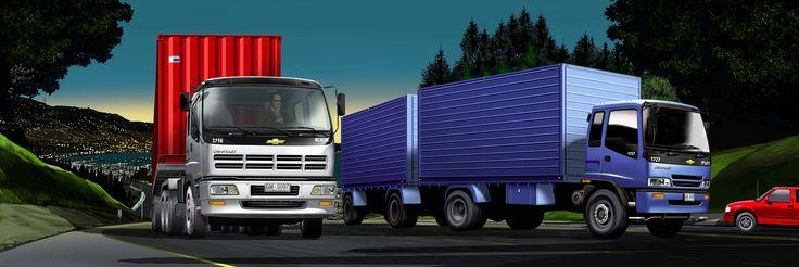 Camiones GM en paisaje Valparaíso - Ilustración en Photoshop