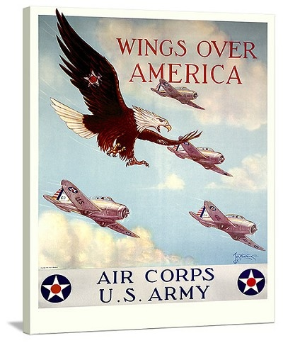 WWII US Army Air Corps Wings Over America Vintage Printed On Canvas
