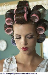 Brunette hair wound on pink velcro curlers, submissive by rollerrikk2012, via Flickr