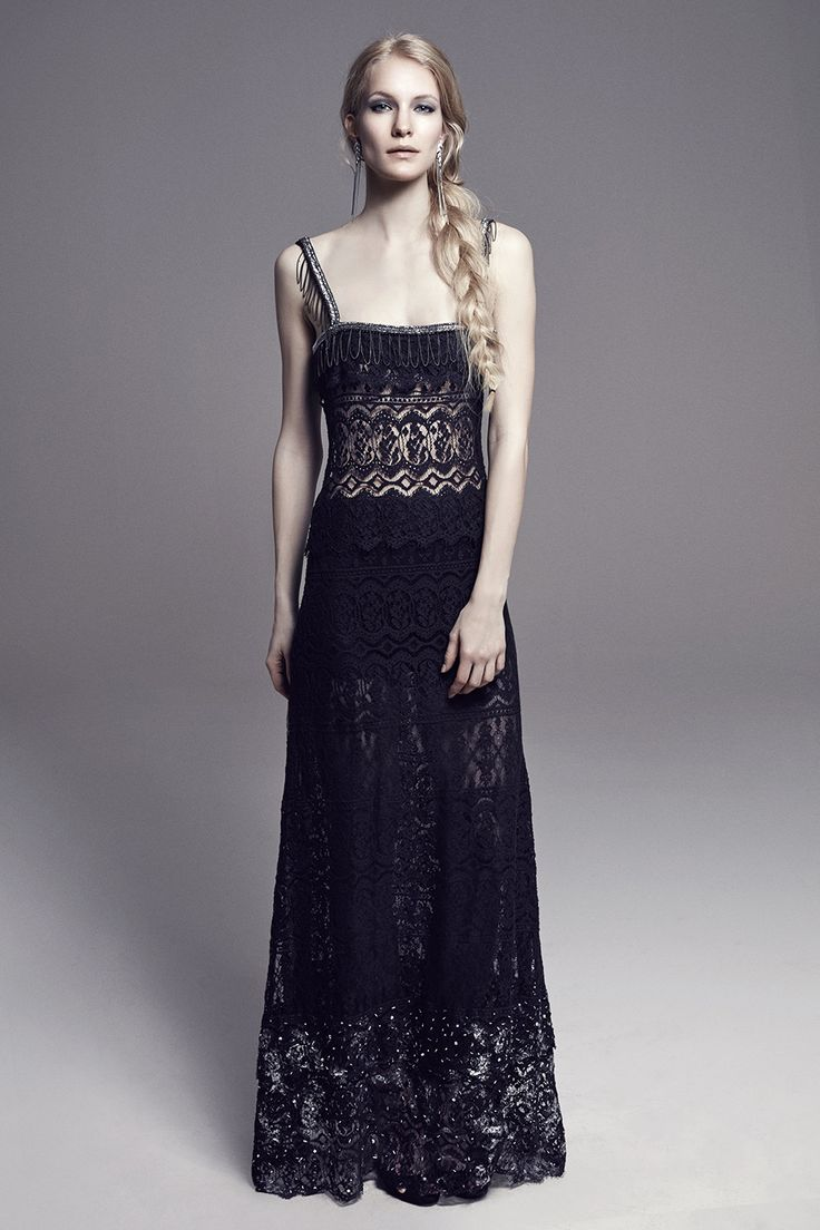 CARLA - Long Lace Evening Dress w/Beaded & Chained Neckline