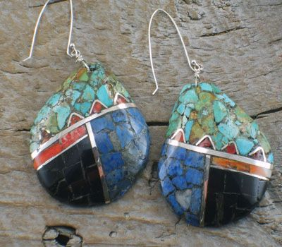 Native American  earrings by artist Mary Coriz.  Santo Domingo earrings are mosaic channel inlay on shell.