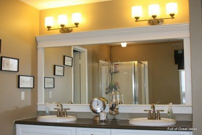 Builder Grade Mirror framed with crown molding. No mitered corners!
