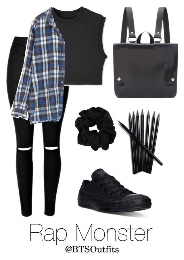 """School with Rap Monster"" by btsoutfits ❤ liked on Polyvore featuring Converse, Kate Sheridan, women's clothing, women, female, woman, misses and juniors"