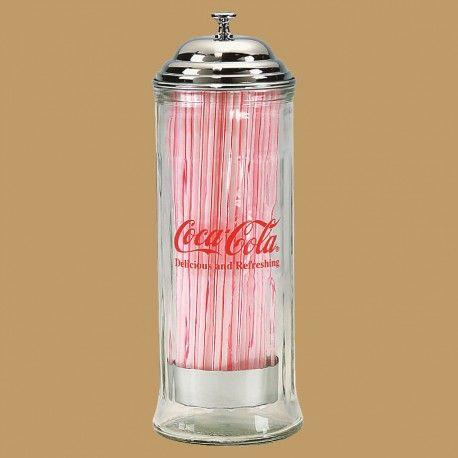 Distributeur de Pailles Coca-Cola en Verre avec Couvercle en Métal Plaqué Chrome