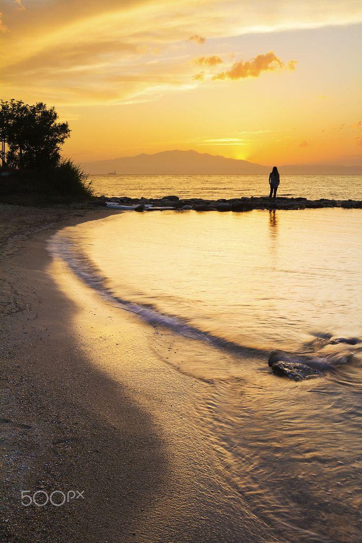 Beach sunset, Thassos, Greece