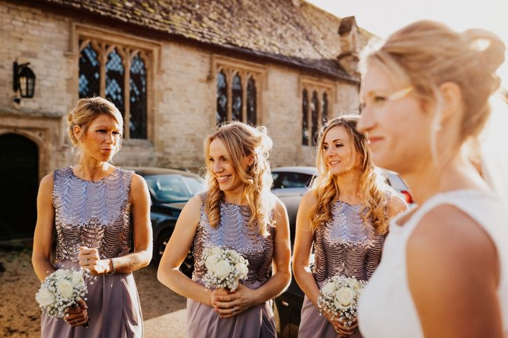 Beautiful sequinned bridesmaids dresses look fab in the winter sun. Photo by Benjamin Stuart Photography #weddingphotography #bridesmaids #sequins #winterwedding #bridalparty #dress #bridesmaiddress #curls