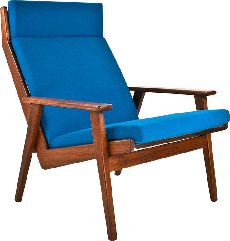 """<p><span style="""" font-style: normal; """">Fauteuil Gelderland """"Lotus"""" en teck, tissu et bois par Rob PARRY datant des années 60. Structure en teck et bois recouverte d'un tissu De Ploeg bleu. Bon état, ensemble restauré.</span></p>"""