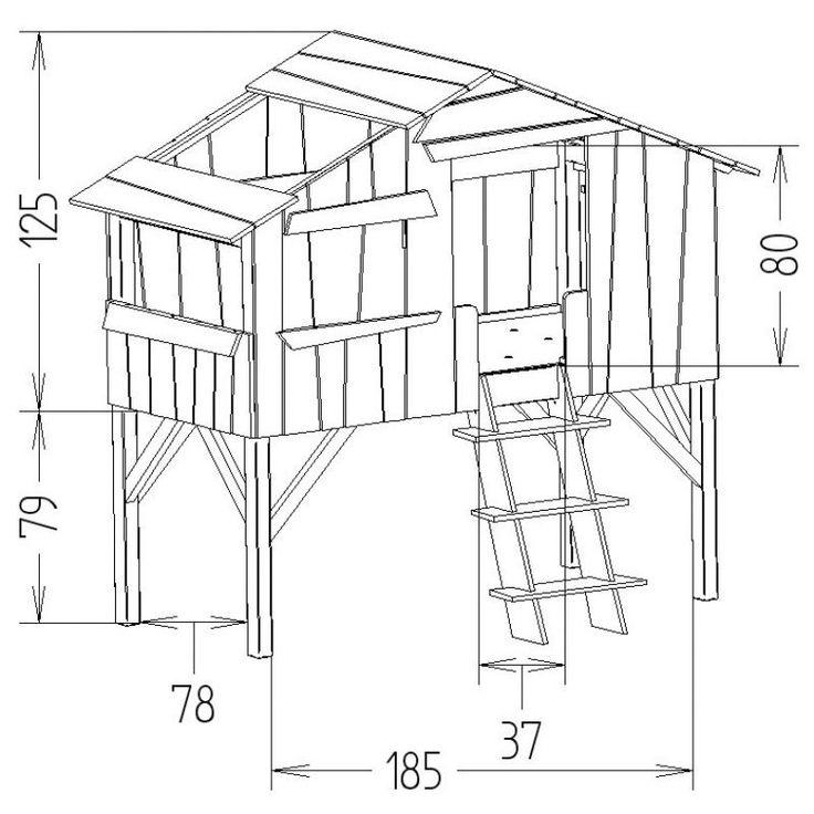 Lit cabane enfant 90 x 190 cm finition brute : Mathy by bols - Lit cabane - Berceau Magique