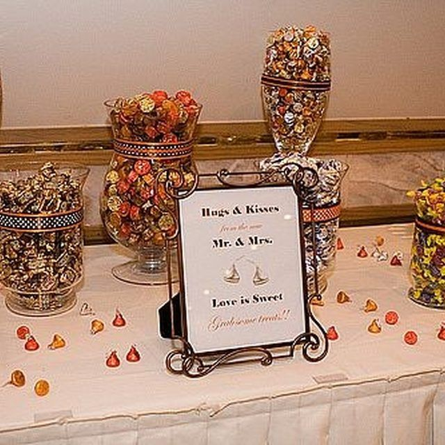 You can save money on containers for a cheap wedding candy buffet.