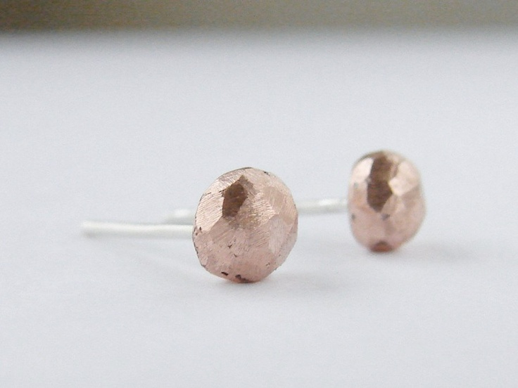 Recycled copper rough crystals and sterling silver earposts by MitzMetalsRough Crystals, Copper Rough, Recycle Copper, Copper Studs, Sterling Silver, Silver Earpost, Mitzmet Pretty