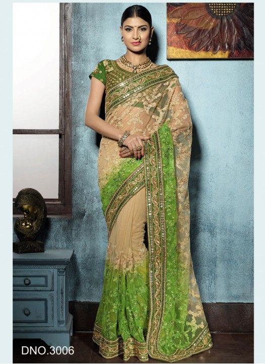 Neon Green Net With Embroidery Designer Saree