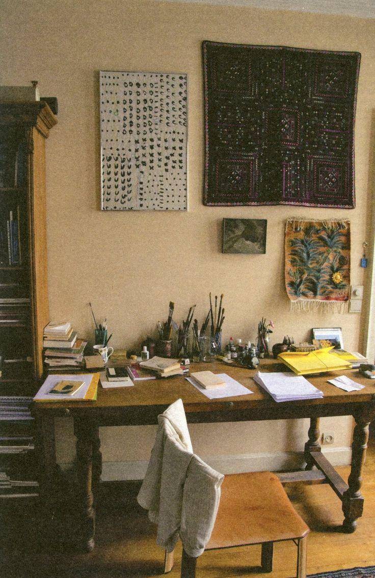 Etel Adnan's work table, Paris, 2012.