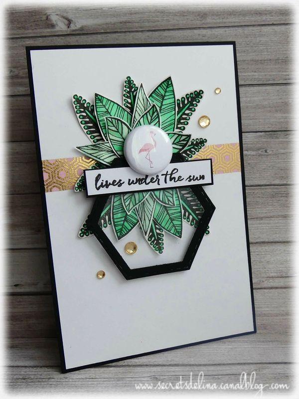 Carte flamand rose #ete #summer #flamandrose  #flamingo #feuillage #pineapple #carte #scrapbooking #cards