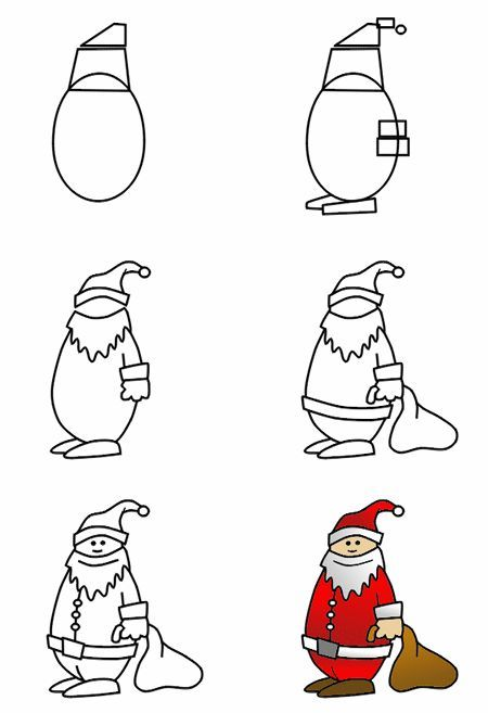 "Drawing Santa is always fun ... whether it's Christmas or not! More ""gifts"" can be found on How to draw funny cartoons!"