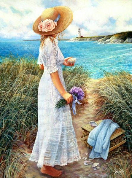 """""""No vuelvas a renunciar a la espera de su barco llegue. """" ~Jasmeine Moonsong An Intimate View by Susan Rios ~ young woman on coastline ~ lighthouse"""