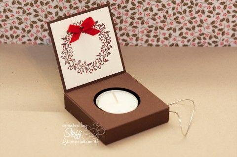 Teelicht Box - Schachtel mit Craft Robo Stempelwiese • Meine erste Schachtel die ich mit meinem Craft Robo erstellt und ausgeschnitten habe. Davor habe ich zwar schon einige Schachteln und Tüten mit dem Craft R