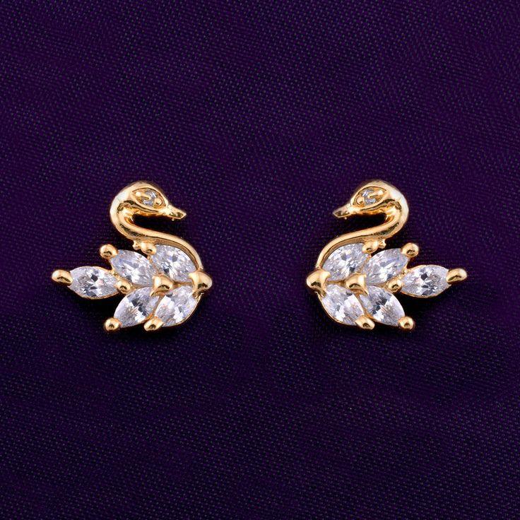 Stud Gold Plated AD CZ Fashion Bollywood Ethnic Jhumka/Jhumki Indian Earrings #DesaiJewellers #DropDangle