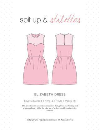 Elizabeth Dress Sewing Pattern Spit Up & Stilettos  Dress sewing pattern. Print on letter paper.