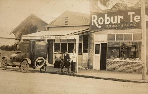 Digital Photograph - Family Outside Colney's Butcher Dairy Shop, Footscray West, circa 1920 #history #melbourne