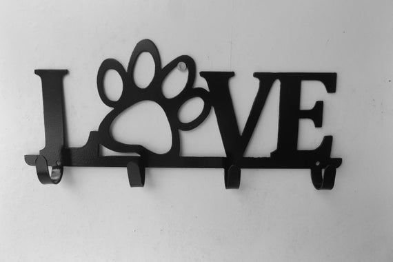 Love Dog Lease Holder Size 11 Inch Wide Etsy In 2020 Dog Lease Dog Leash Holder Metal Wall Sign