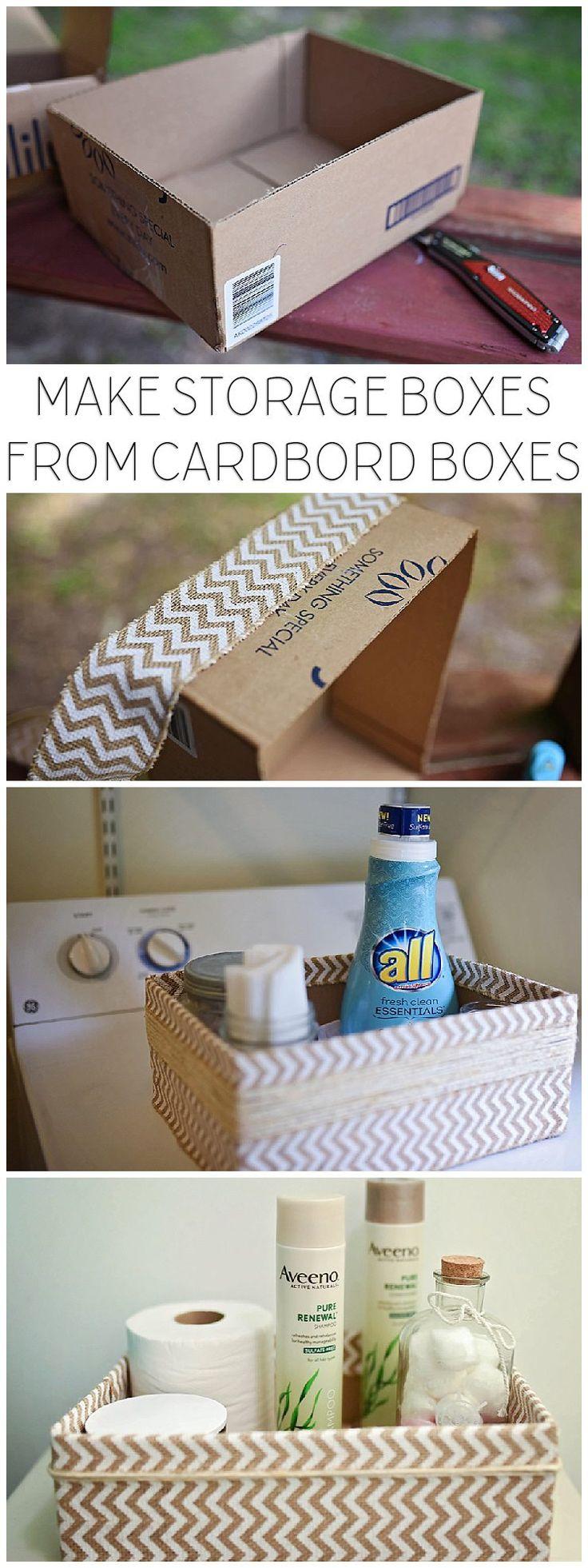 Cajas de cartón recicladas en cajas de almacenamiento
