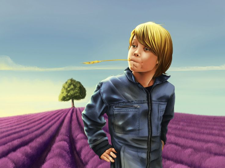My kid who wants to grow up to become a farmer. Standing in a lavender field minding his own business.