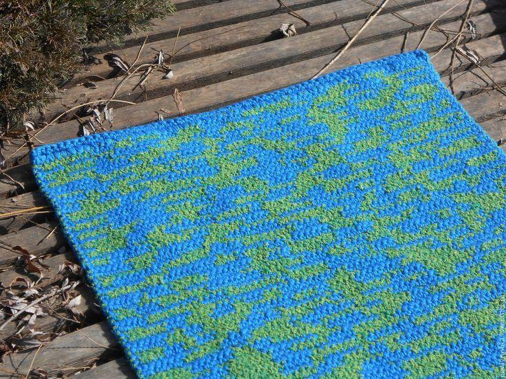 """Купить вязаный коврик """"Камуфляж альтернативный"""" - синий, вязаный коврик, вязаный ковер, прикроватный коврик"""