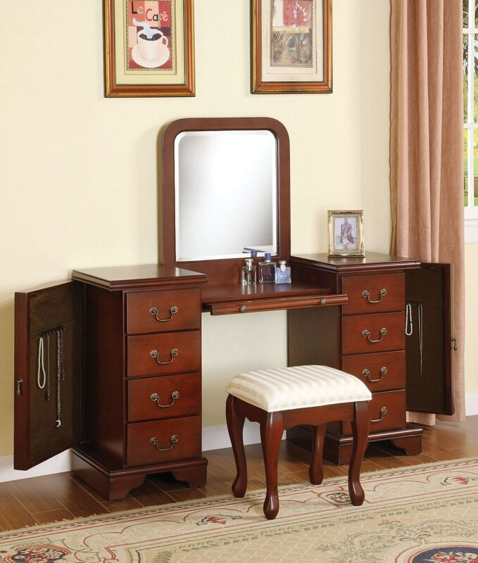 Acme 06565 3 Pc Louis Phillipe Brown Finish Wood Bedroom Make Up
