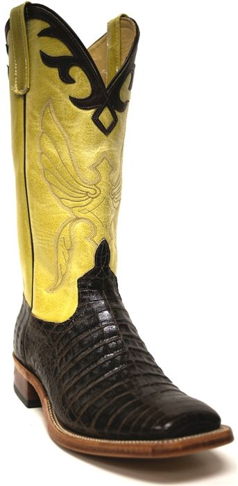 Anderson Bean Men's Yellow and Chocolate Cowboy Boots -- These boots were made to be worn during the Springtime! | SouthTexasTack.com