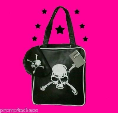 BLACK WHITE SKULL CROSSBONES HANDBAG Matching Change Purse psychobilly pirate: Skull Crossbon, White Skull