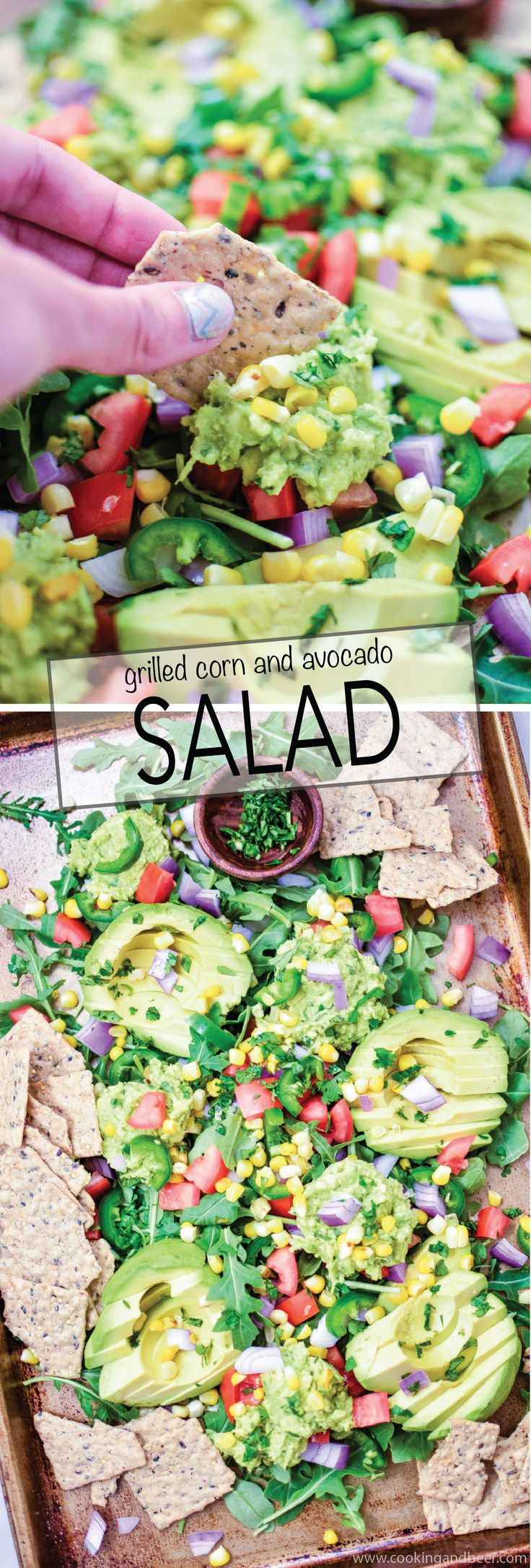 Grilled Corn and Avocado Salad: a crisp and refreshing summer salad recipe that highlights fresh corn and ripe avocado! | www.cookingandbeer.com