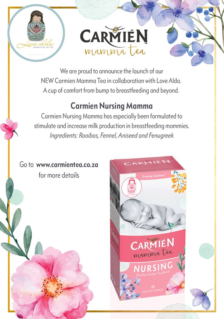 New Carmien Nursing Mamma in collaboration with Love Alda. Stimulates and increase milk production in breastfeeding mommies.