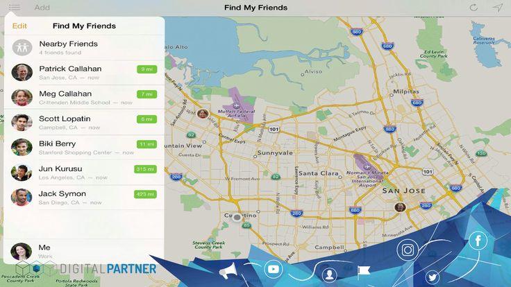 """¡Mantén ubicada a tu familia y amigos en todo momento!  Apple """"Buscar Amigos"""" 'Buscar Amigos' para Android"""