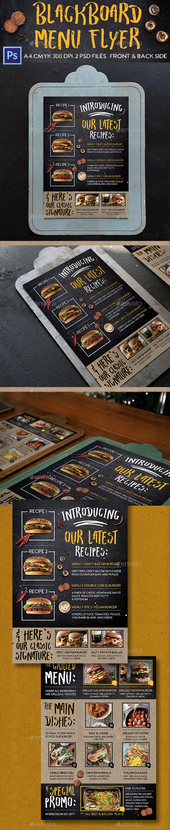 Blackboard Menu Flyer — Photoshop PSD #modern menu #card • Download ➝ https://graphicriver.net/item/blackboard-menu-flyer/19085764?ref=pxcr